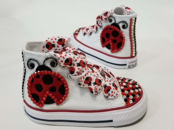 ddbc623cf9d61 Ladybug Bling Converse- Red, Black, and Clear Crystals White High Top Shoes