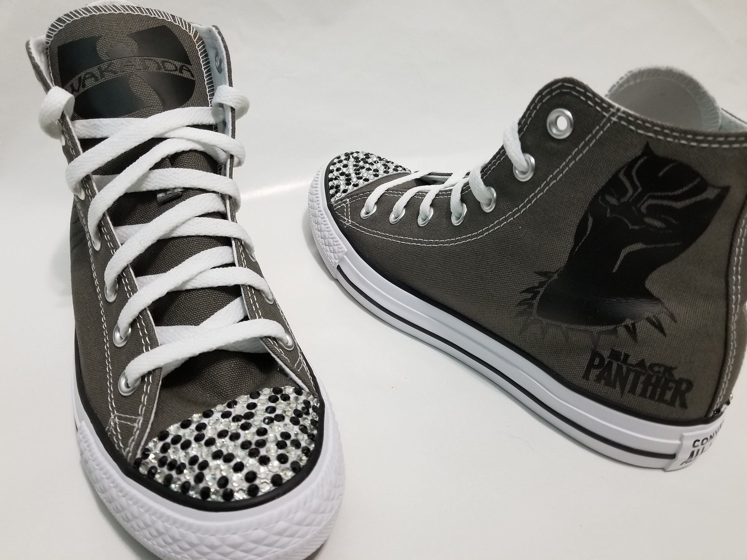 011ea6556a19 Black Panther Bling Converse Gray High Top Shoes and Black