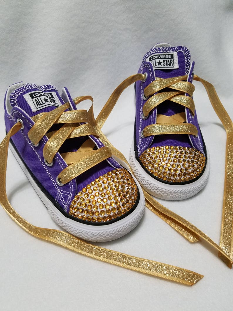 2031e16de70f44 Baby Toddler Bling Royalty Converse Purple and Gold Gold