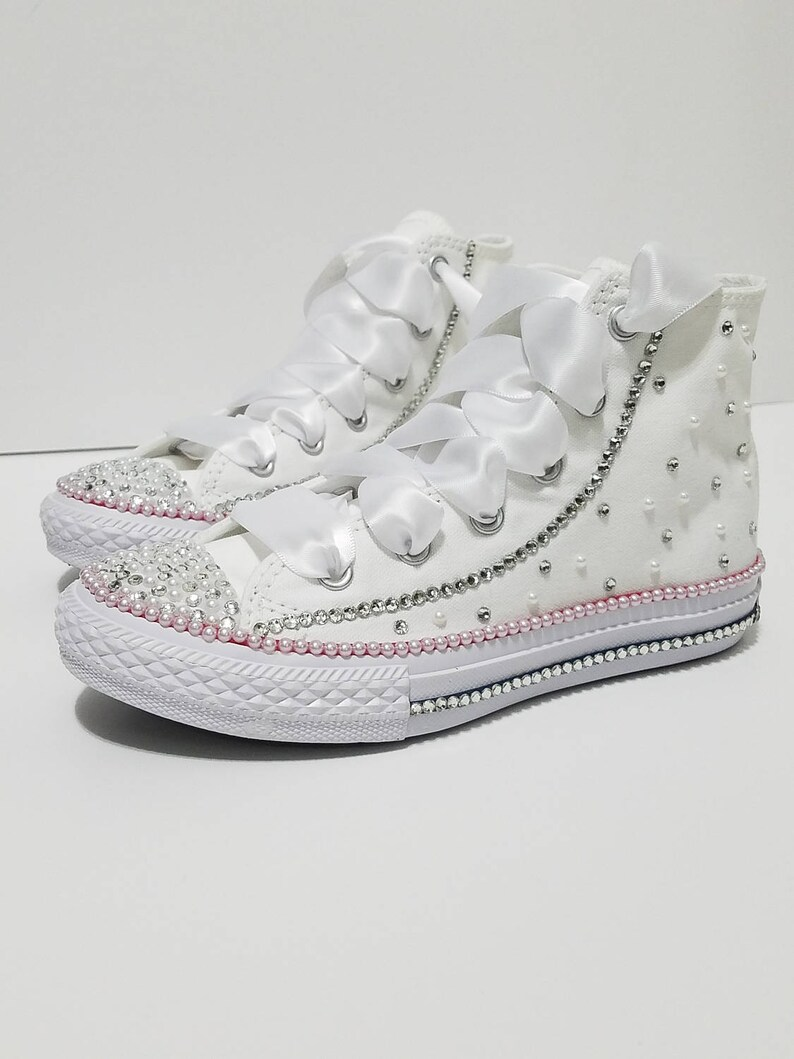 Baby Toddler White High Tops Bling Crystal and Pearl  8966057ae