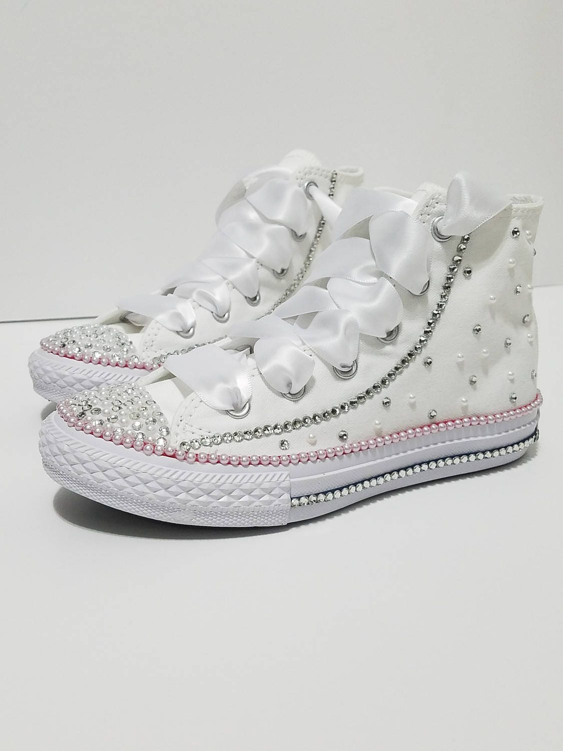 1207f1ee7ae1 Baby Toddler White High Tops Bling Crystal and Pearl