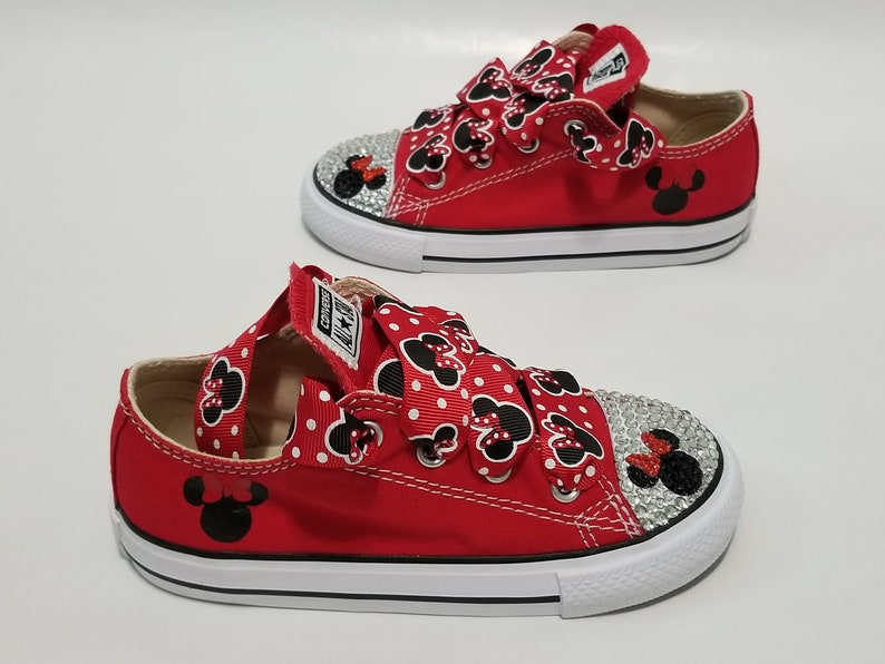 5d9d8fe4e977 Minnie Mouse Bling Converse Children s Clear Crystals Red