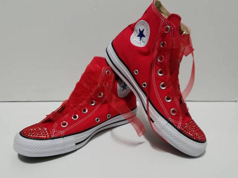 412d5fcfa52e Children s Red High Tops Bling Crystal Rhinestone Converse
