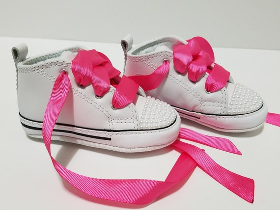 Baby Toddler Bling Converse White Pearls White Soft Bottom  c8694f92dd