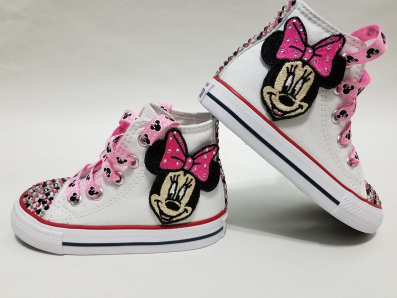 6703d8f2539d6 Minnie Mouse Bling Converse- Pink, Clear, and Black Crystals White High Top  Shoes