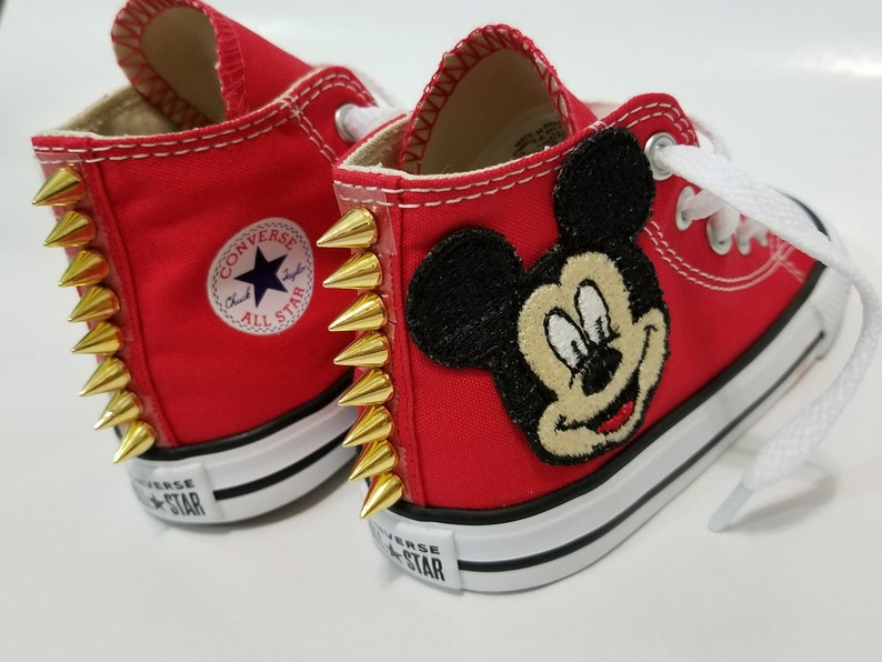 db8793304fc9 Mickey Mouse Spike Converse Red High Top Shoes and Gold