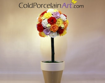 Spring Roses Topiary - Cold Porcelain Art - Made to Order