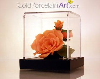 Orange Roses - Cold Porcelain Art - Made to Order