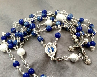 Blue Miraculous Medal Silver Wire Wrapped Unbreakable Rosary