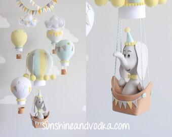 Hot Air Balloon Baby Mobile, Elephant Nursery Decor, Gender Neutral, Aqua, Gray and Yellow, Travel Theme, Nursery Mobile, i151