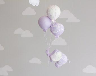 Elephant Baby Mobile, Balloon Mobile, Nursery Decor, Circus Theme, Lavender Nursery Decor, i36