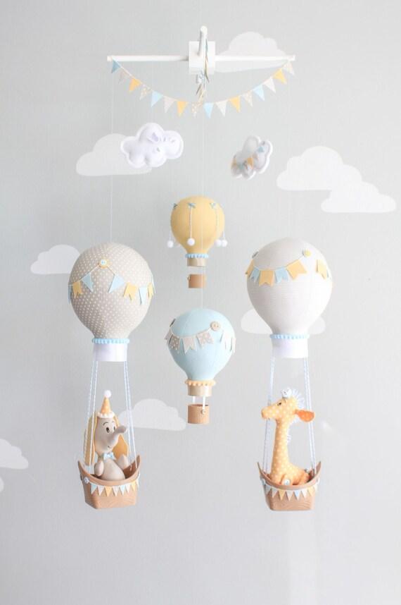 Hot Air Balloon Baby Mobile Giraffe and Elephant Nursery ...