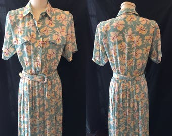 Retro vintage pale Blue floral dress 1980 large medium size 13 14