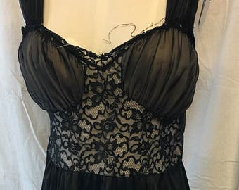 0846cab3a8 Black sexy medium lingerie night gown vintage retro wedding