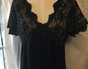 72f009e429 Black sexy small lingerie night gown vintage retro wedding