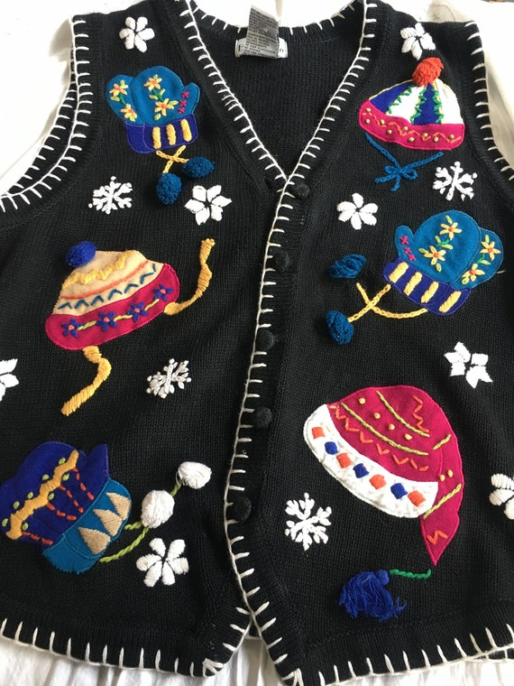 Ugly Christmas sweater black  Mitten Christmas Ves