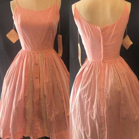 1950 vintage dress pink gingham small pin up girl
