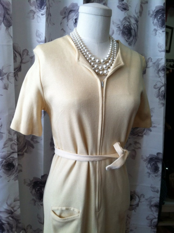 retro vintage  butter yellow work dress small