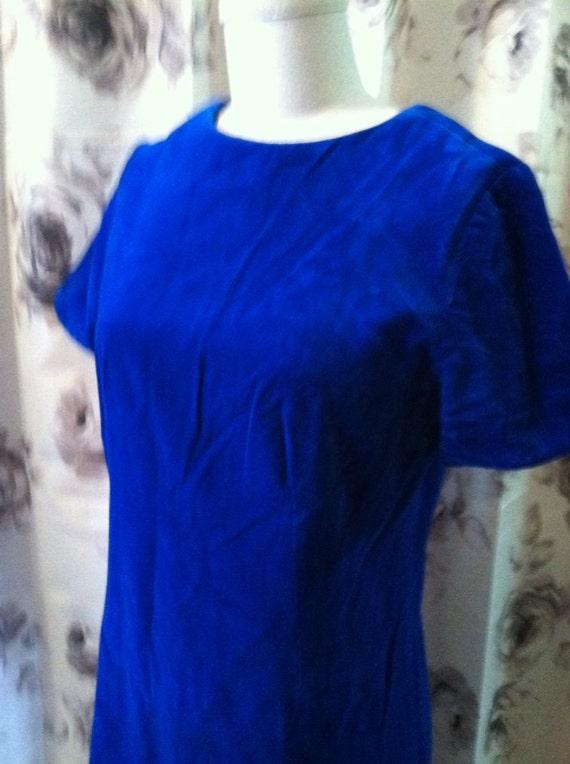 Royal blue velvet 1960 dress