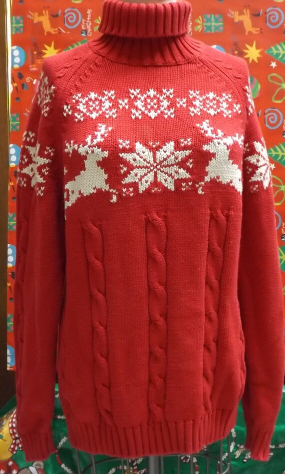 Ugly Christmas Sweater Red snowflakes Reindeer lar