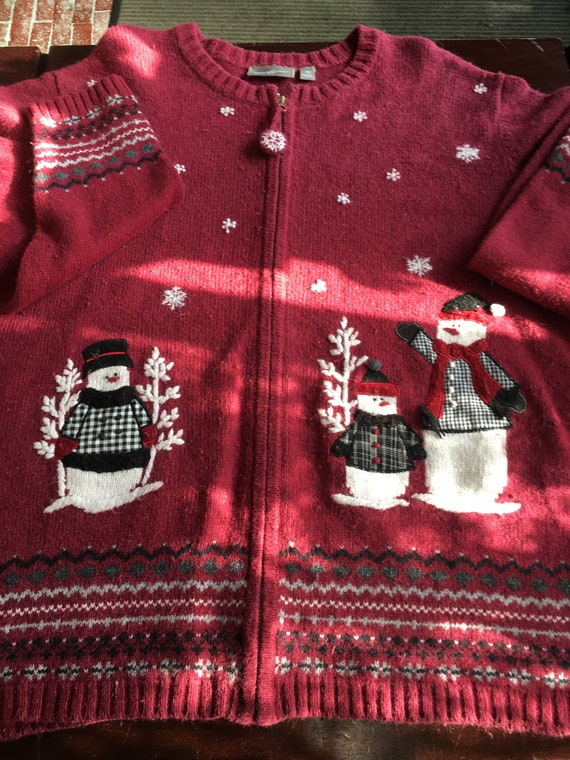 Ugly Christmas Sweater red 2x snowmen