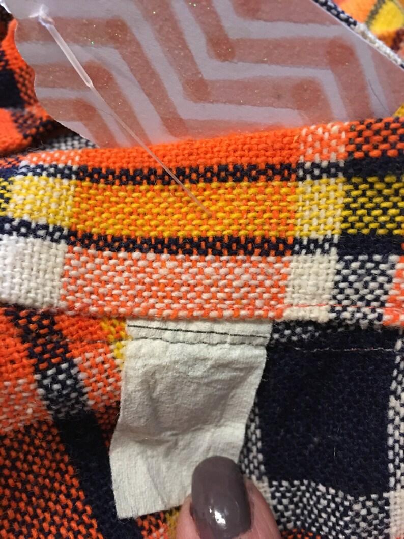 black Friday  sale Vintage Orange blue plaid long wool skirt size small retro 1960