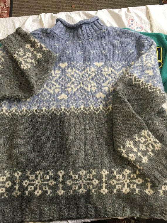 ugly christmas sweater wool pullover sweater Large