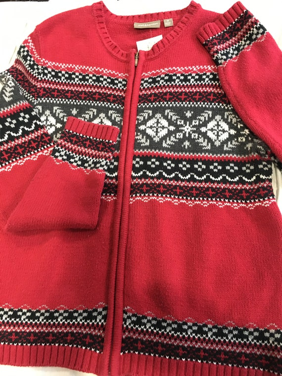 Ugly Christmas Sweater red grey medium snowflakes