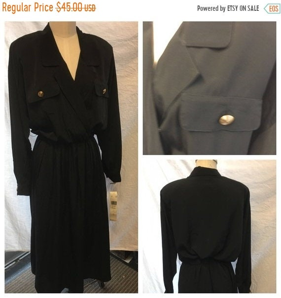 Retro Black wrap cross bodies shirt dress size 14