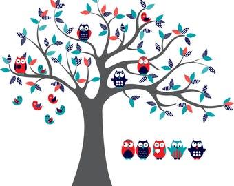 Kinderzimmer Wandtattoo Aufkleber Vinyl Baum Eule Baum 6 Free Etsy