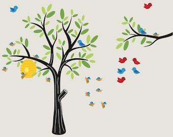 wall decals-  Vinyl tree- Nursery tree- Children decals- Bee hive and birds