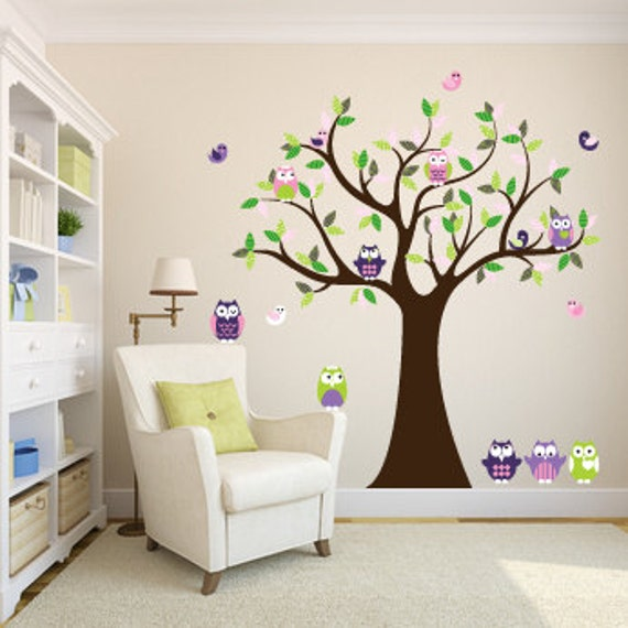 Wandtattoo Eulen Baum Baum Vinyl Aufkleber Kindergarten Baum 5 Etsy