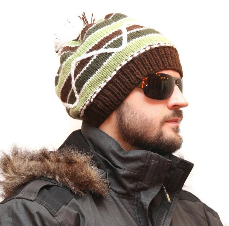 Mens Winter Headwear Multicoloured Mens Hat Knitted Beanie Etsy
