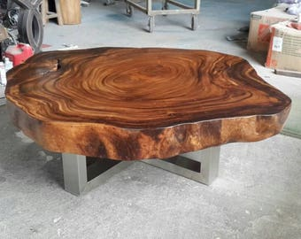 Coffee Table Round Live Edge Acacia Wood Solid Slab With Stainless Steel  Leg Base (Custom Made)