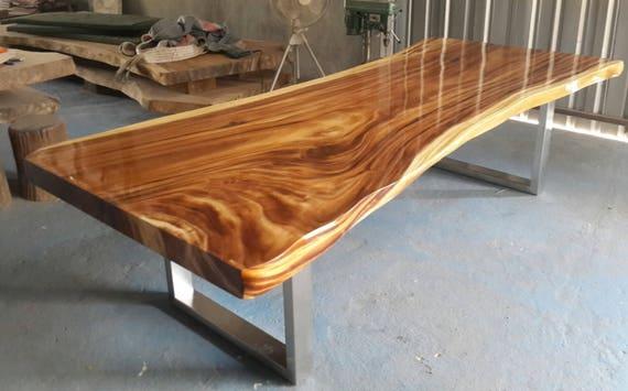Live Edge Dining Table Golden Acacia Wood Reclaimed Single Slab 9.8 Ft  Length