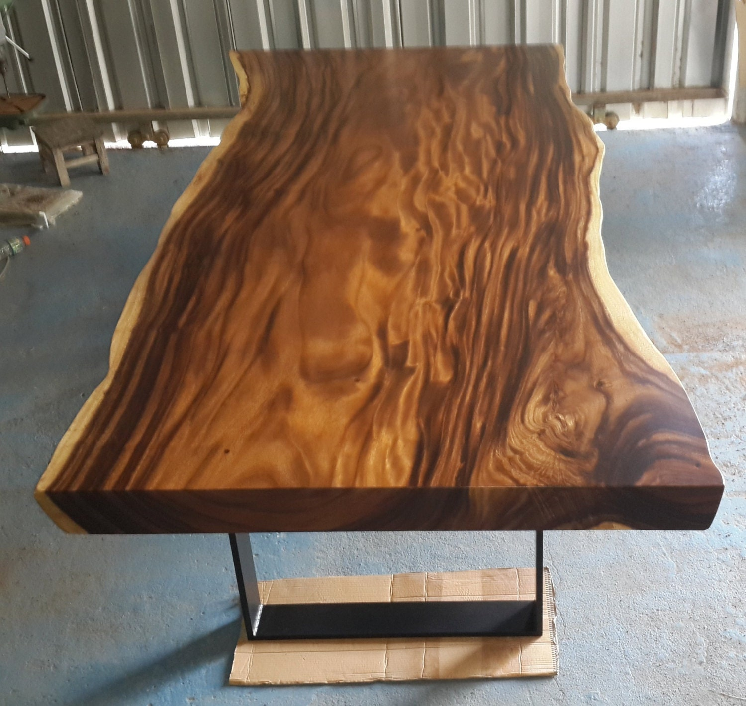 Live Edge Dining Table Reclaimed Acacia Wood Solid Slab Etsy