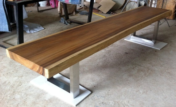 Wondrous Live Edge Bench Table Reclaimed Acacia Wood Solid Slab Stainless Steel Legs Beatyapartments Chair Design Images Beatyapartmentscom