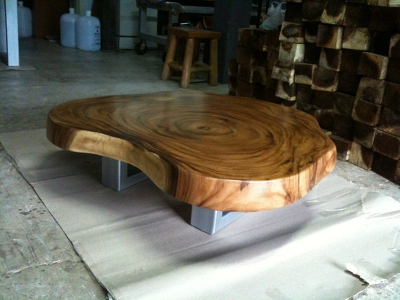Live Edge Coffee Table Reclaimed Acacia Wood Solid Slab Etsy