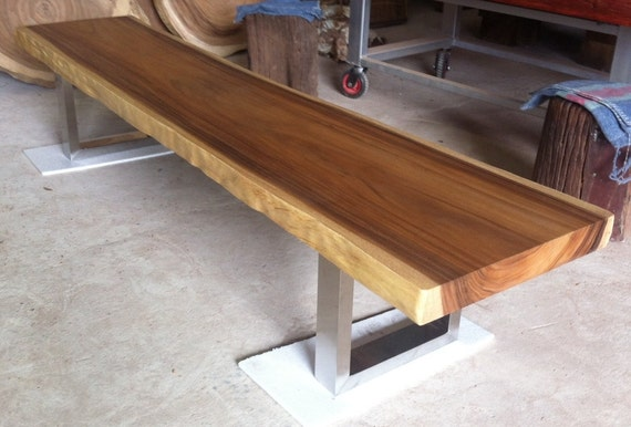Pleasant Live Edge Bench Table Reclaimed Acacia Wood Solid Slab Stainless Steel Legs Beatyapartments Chair Design Images Beatyapartmentscom