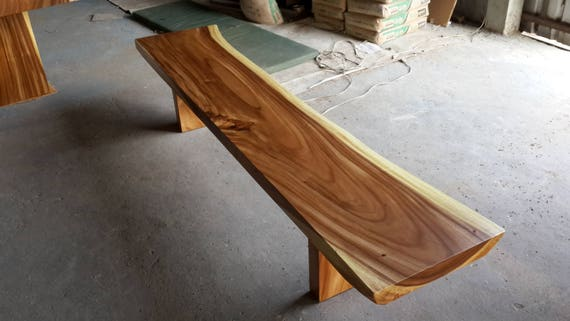 Superb Live Edge Bench Table Acacia Wood Solid Slab Natural Shape Pdpeps Interior Chair Design Pdpepsorg