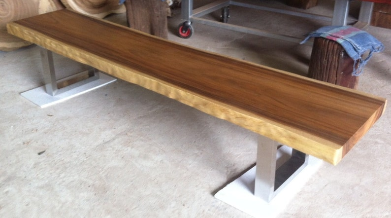 Stainless Steel Legs Live Edge Bench Table Reclaimed Acacia Wood Solid Slab
