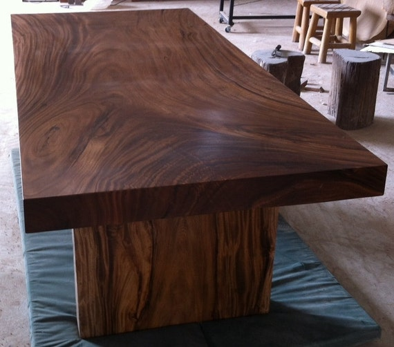 Straight Edge Dining Table Reclaimed Acacia Wood Solid