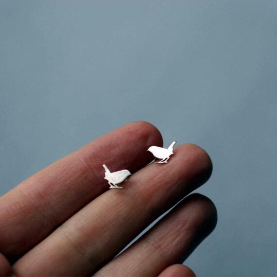Silver Stud Earrings of cute Wren birds