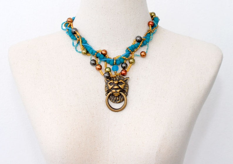Big Bold Chunky Statement Blue Necklace Lion Head Adjustable Ring Pendant Choker Beaded Large Necklace Vintage Wearable art One of a kind