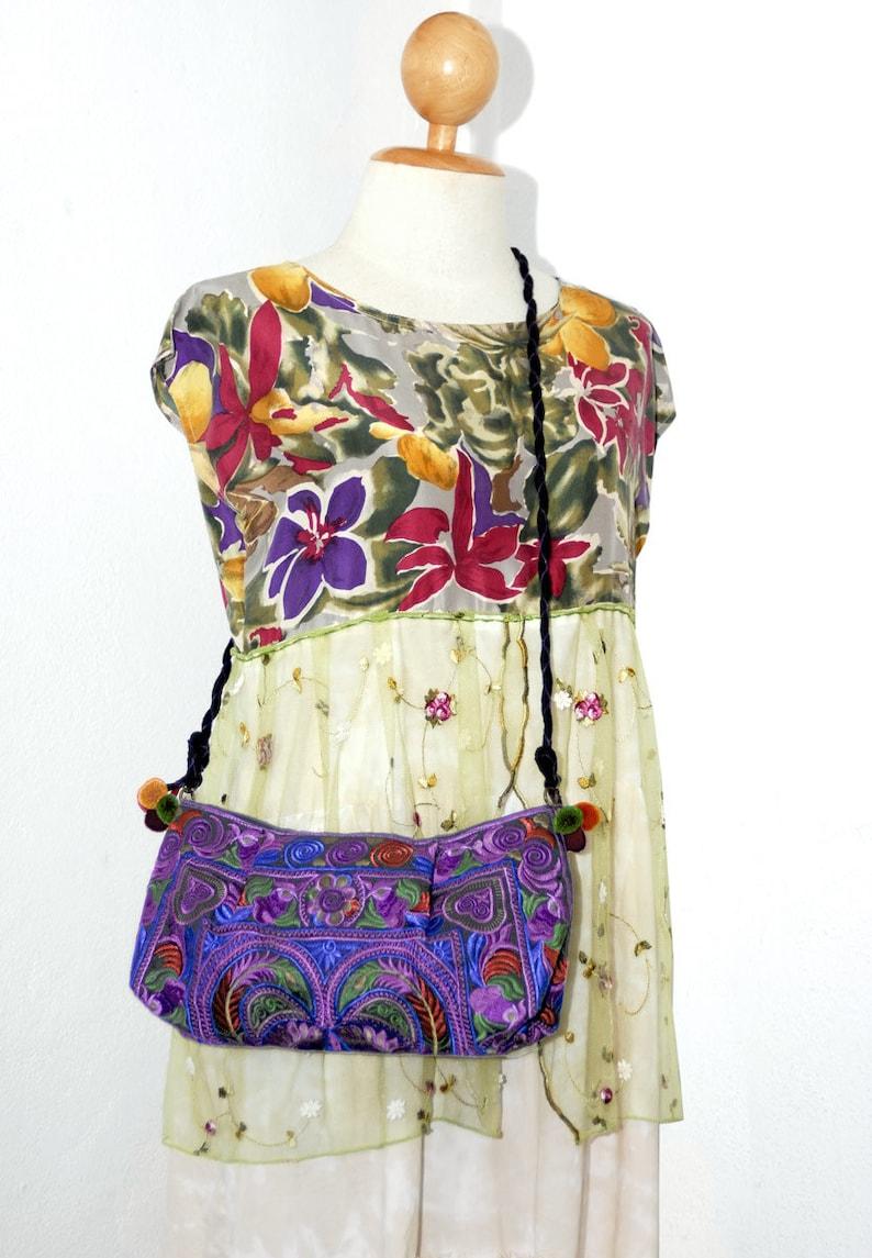 Romantic Fairy silk dress Woodland sleeveless maxi bohemian dress burgundy purple green flowers pattern Hippie chic Forest shabby mid calf