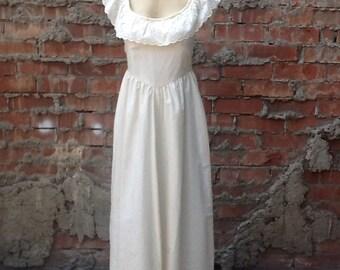 Vintage Cream Eyelet Hippie Maxi Dress c9079976d