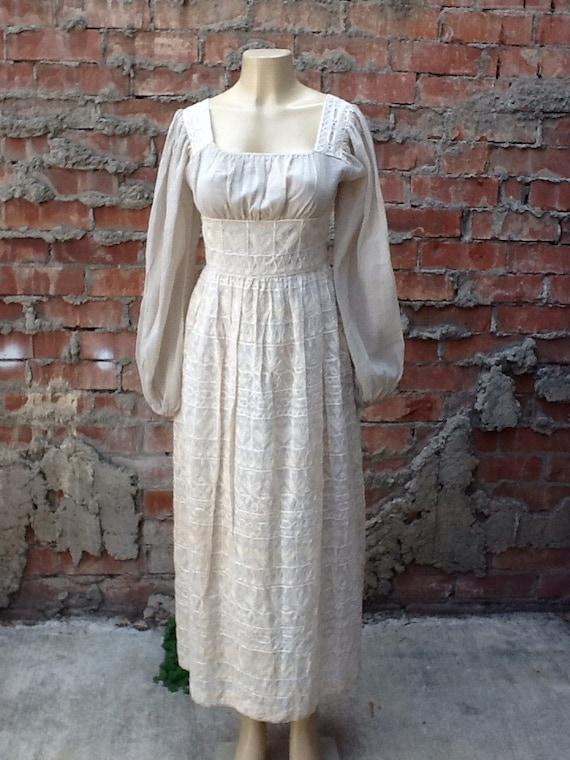 Vintage Cream Embroidered Hippie Maxi Dress