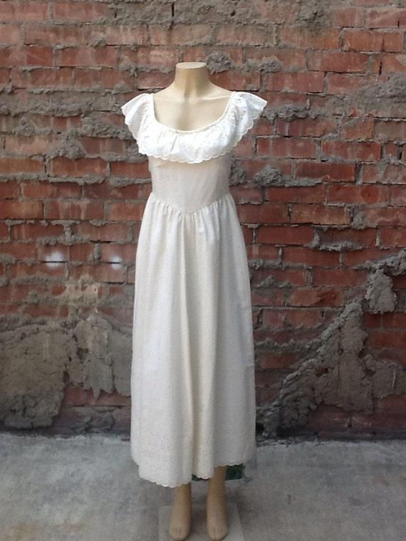 Vintage Cream Eyelet Hippie Maxi Dress