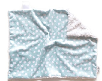 Baby boy security double minky blanket white blue gray modern watercolor personalized embroidered Bubbles LOVEY
