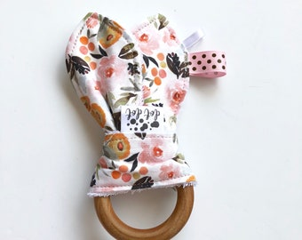 Harlow - Baby Girl Teething Ring Toy - Cotton Terry Cloth Washable Maple Wood Wooden Modern Blush Pink Boho flowers watercolor floral